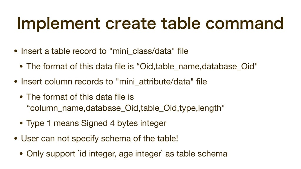 *NQMFNFOUDSFBUFUBCMFDPNNBOE • Insert a table...