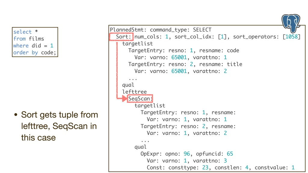 • Sort gets tuple from lefttree, SeqScan in thi...