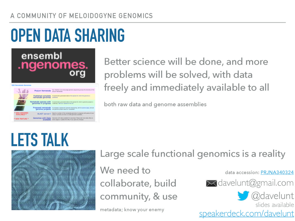 A COMMUNITY OF MELOIDOGYNE GENOMICS OPEN DATA S...