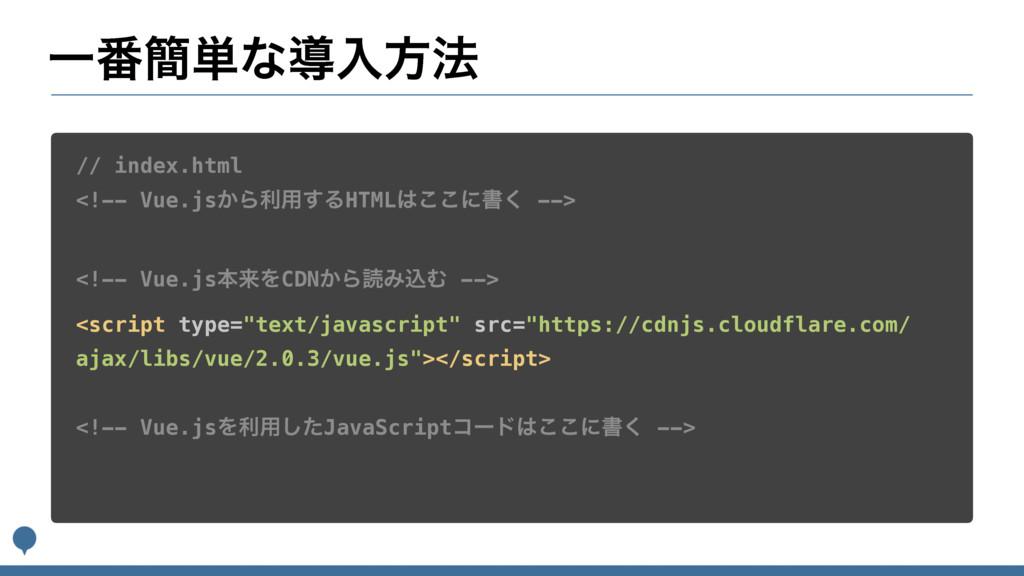 Ұ൪؆୯ͳಋೖํ๏ // index.html <!-- Vue.js͔Βར༻͢ΔHTML͜...