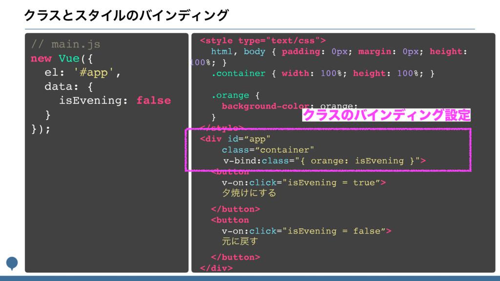 ΫϥεͱελΠϧͷόΠϯσΟϯά // main.js new Vue({ el: '#app...
