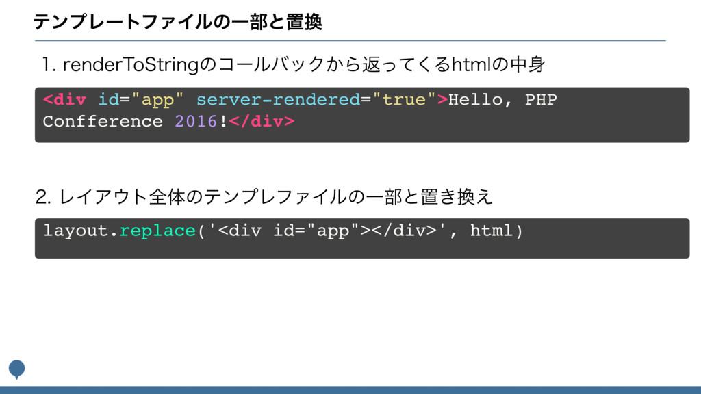 """ςϯϓϨʔτϑΝΠϧͷҰ෦ͱஔ <div id=""""app"""" server-rendered=..."""