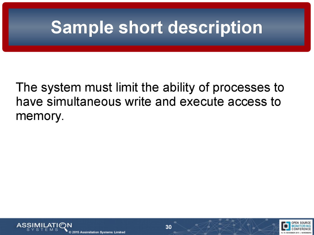 © 2015 Assimilation Systems Limited 30 Sample s...