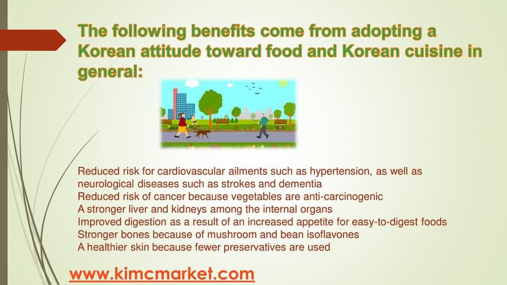 www.kimcmarket.com Reduced risk for cardiovascu...