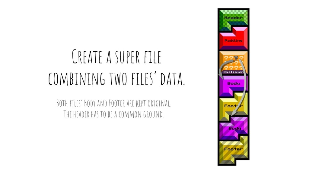 Create a super file combining two files' data. Bo...