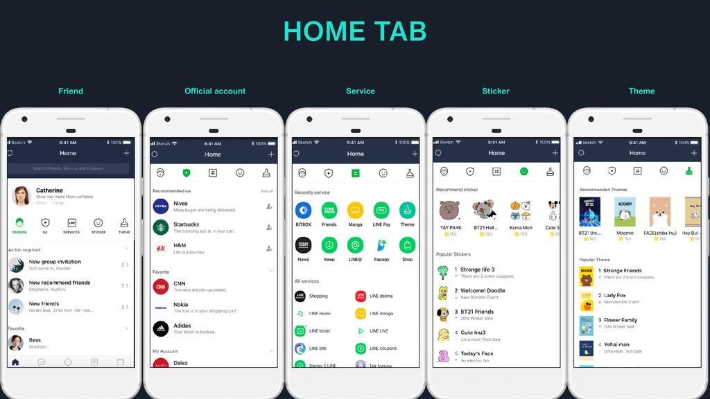 HOME TAB Friend Official account Service Sticke...
