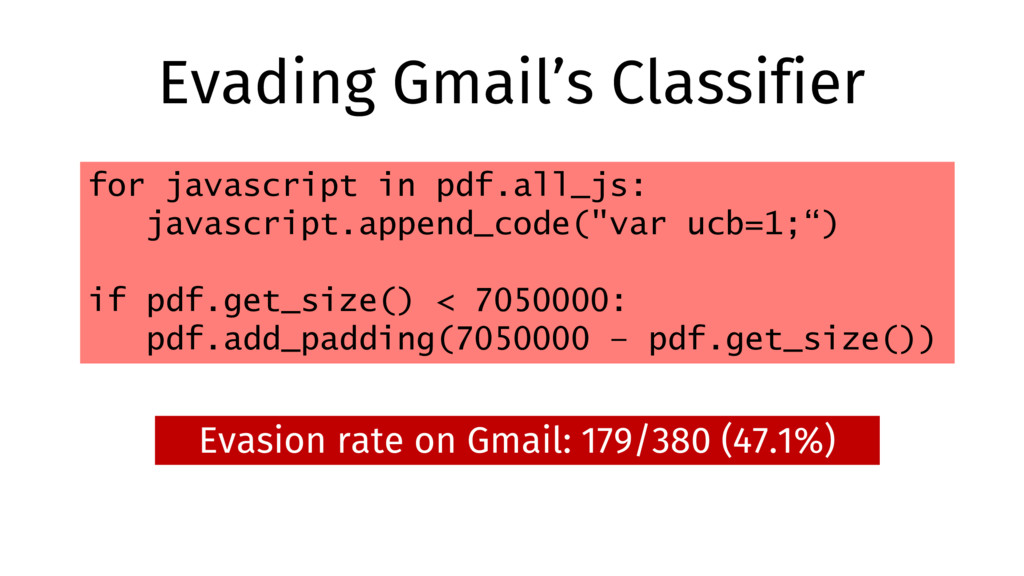 Evading Gmail's Classifier Evasion rate on Gmai...