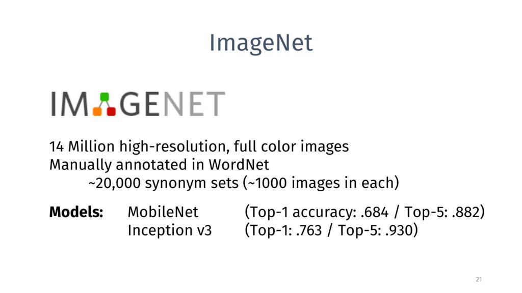 ImageNet 21 14 Million high-resolution, full co...