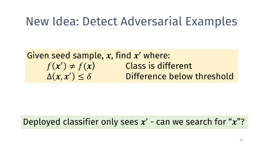 New Idea: Detect Adversarial Examples 29 Given ...