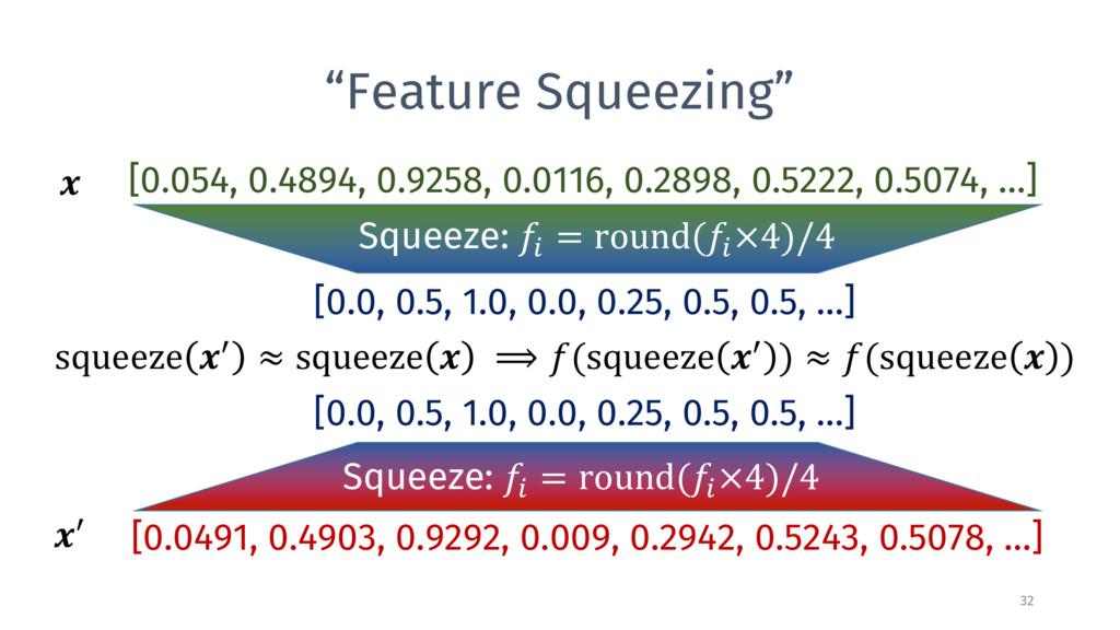 """Feature Squeezing"" 32 [0.054, 0.4894, 0.9258, ..."