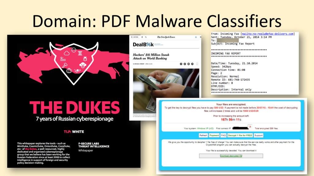 Domain: PDF Malware Classifiers