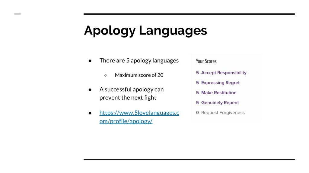 Apology Languages ● There are 5 apology languag...