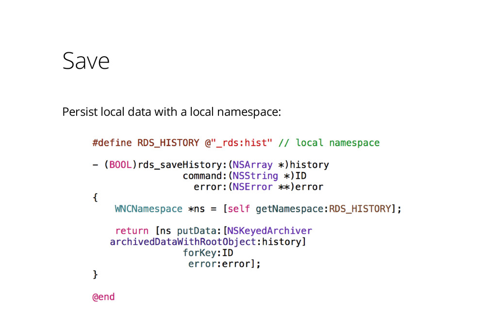 Save Persist local data with a local namespace: