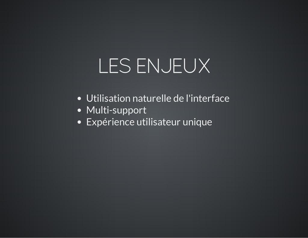 LES ENJEUX Utilisation naturelle de l'interface...