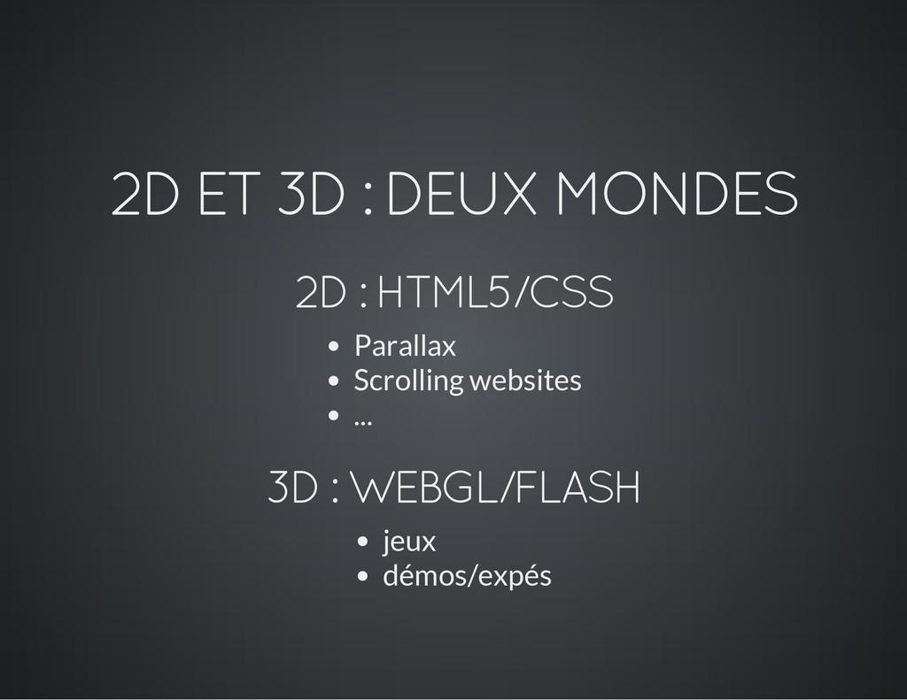 2D ET 3D : DEUX MONDES 2D : HTML5/CSS Parallax ...