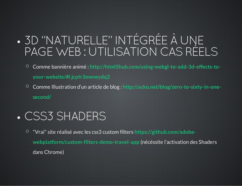 """3D """"NATURELLE"""" INTÉGRÉE À UNE PAGE WEB : UTILIS..."""