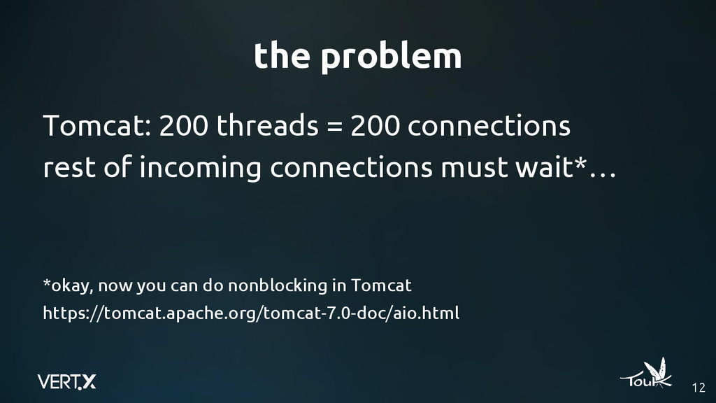 the problem 12 Tomcat: 200 threads = 200 connec...