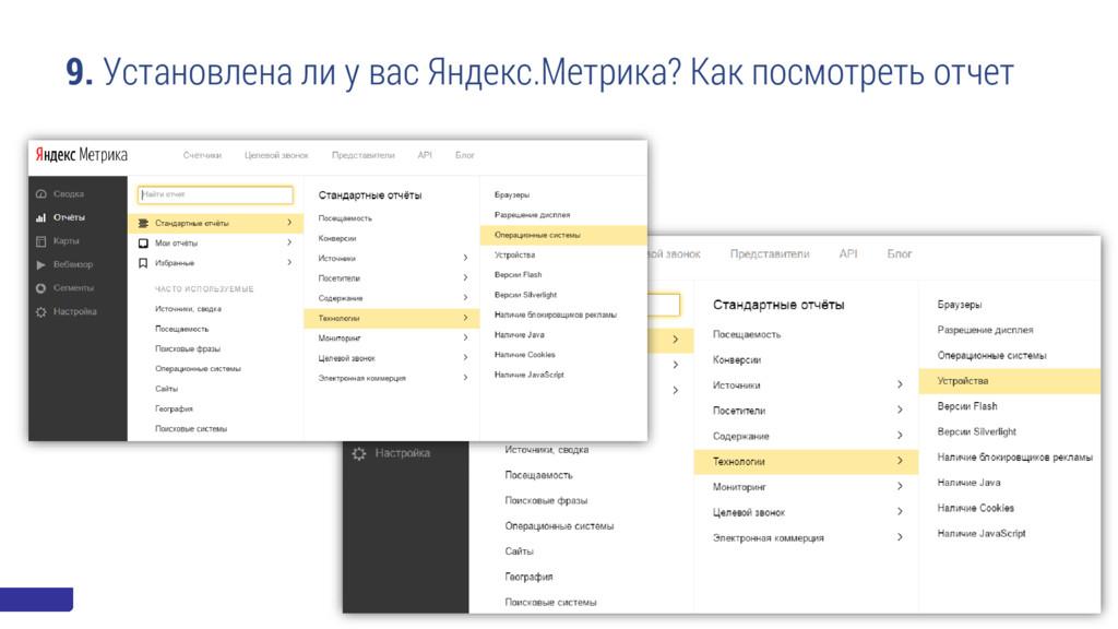 9. Установлена ли у вас Яндекс.Метрика? Как пос...