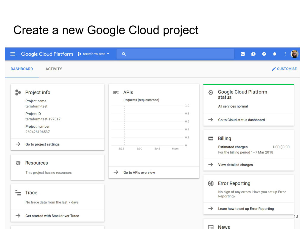 Create a new Google Cloud project 13