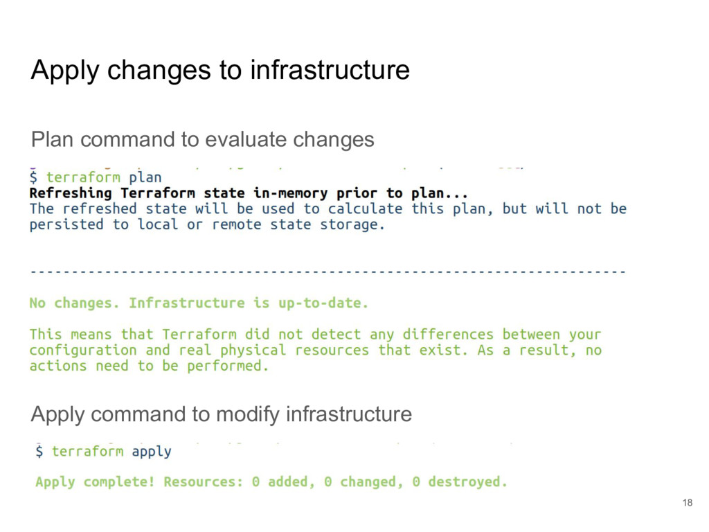 Apply changes to infrastructure Plan command to...