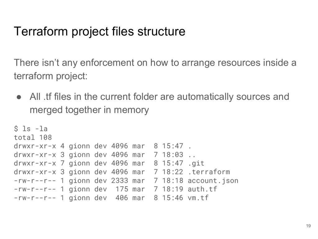Terraform project files structure There isn't a...