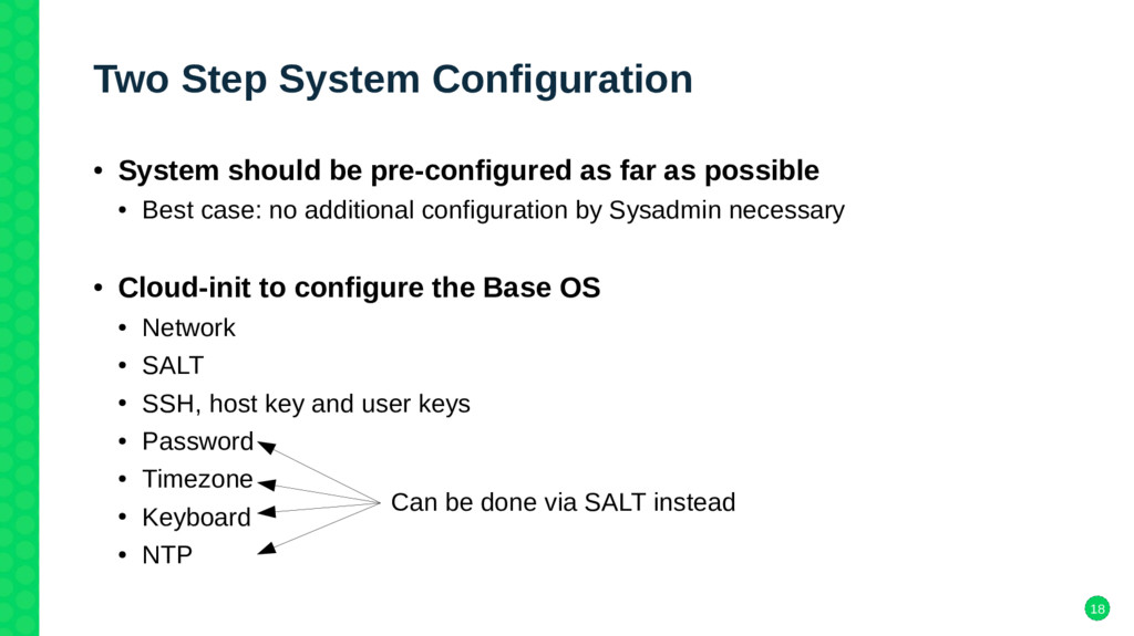 18 Two Step System Configuration ● System shoul...