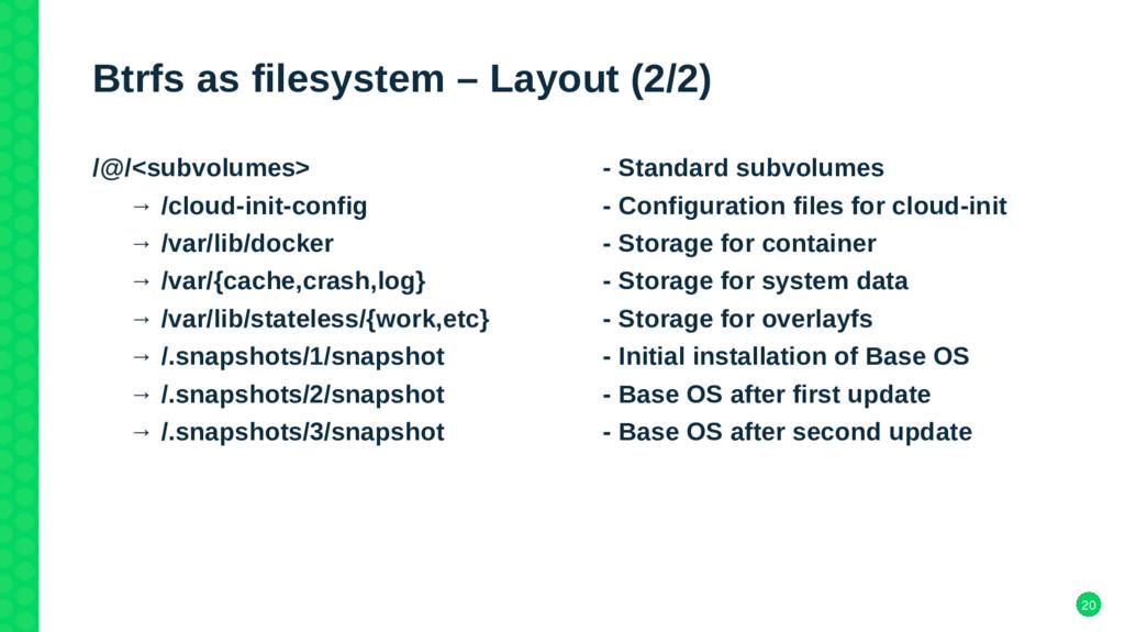 20 Btrfs as filesystem – Layout (2/2) /@/<subvo...