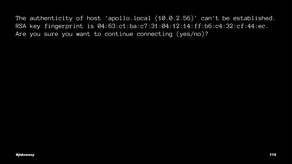 The authenticity of host 'apollo.local (10.0.2....