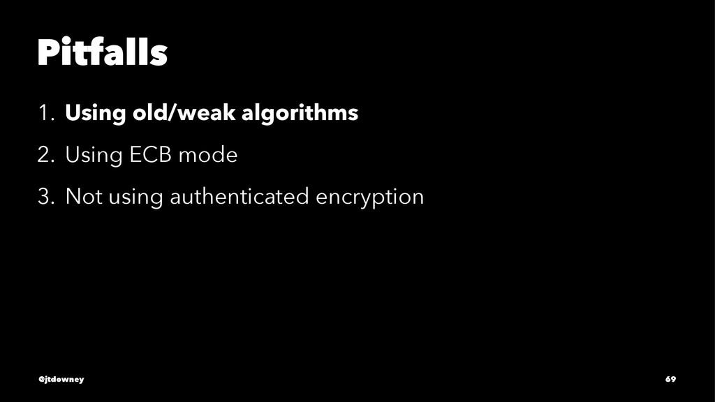 Pitfalls 1. Using old/weak algorithms 2. Using ...
