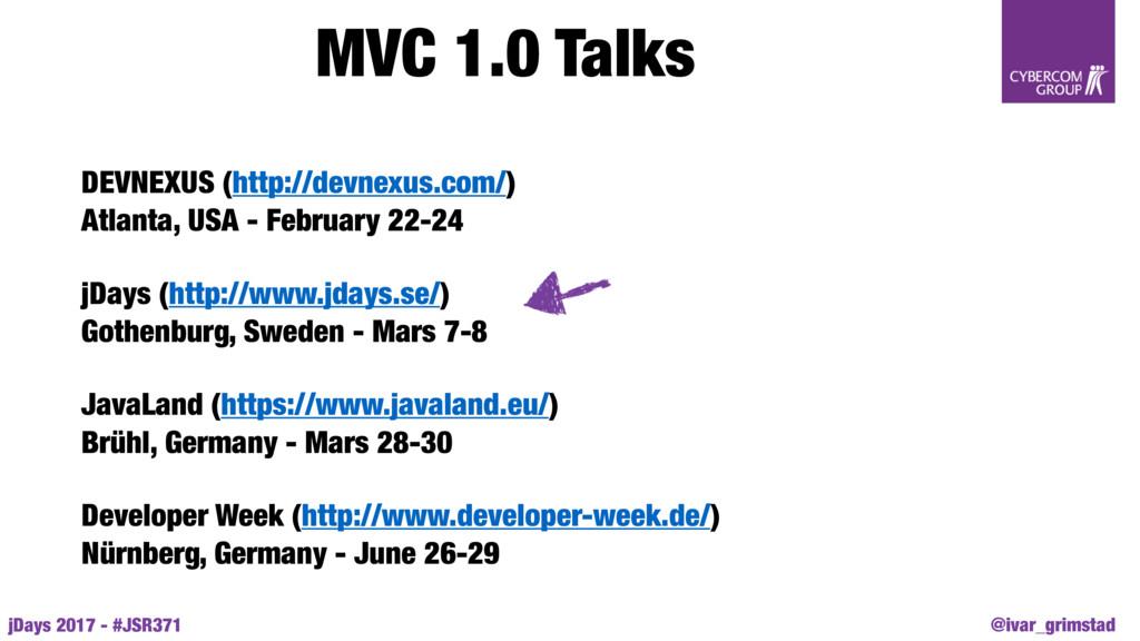 @ivar_grimstad jDays 2017 - #JSR371 MVC 1.0 Tal...