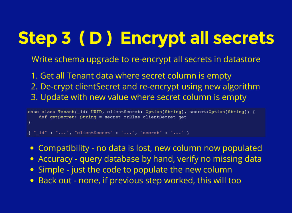 Step 3 ( D ) Encrypt all secrets Write schema u...