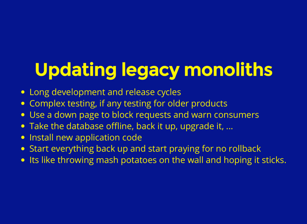 Updating legacy monoliths Long development and ...