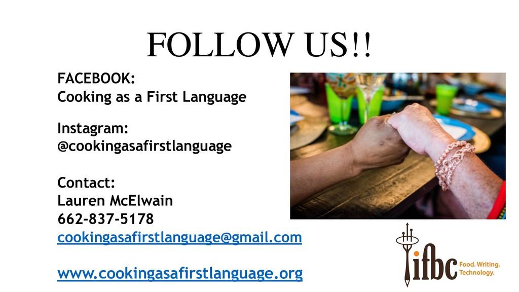 FOLLOW US!! FACEBOOK: Cooking as a First Langua...