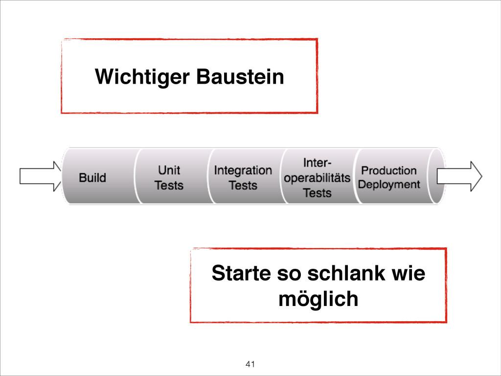 Wichtiger Baustein Starte so schlank wie möglic...