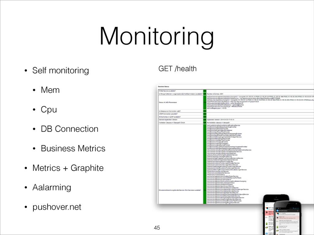 Monitoring • Self monitoring • Mem • Cpu • DB C...