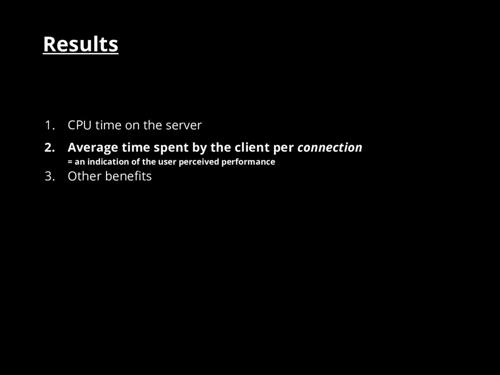 Results 1. CPU time on the server 2. Average ti...