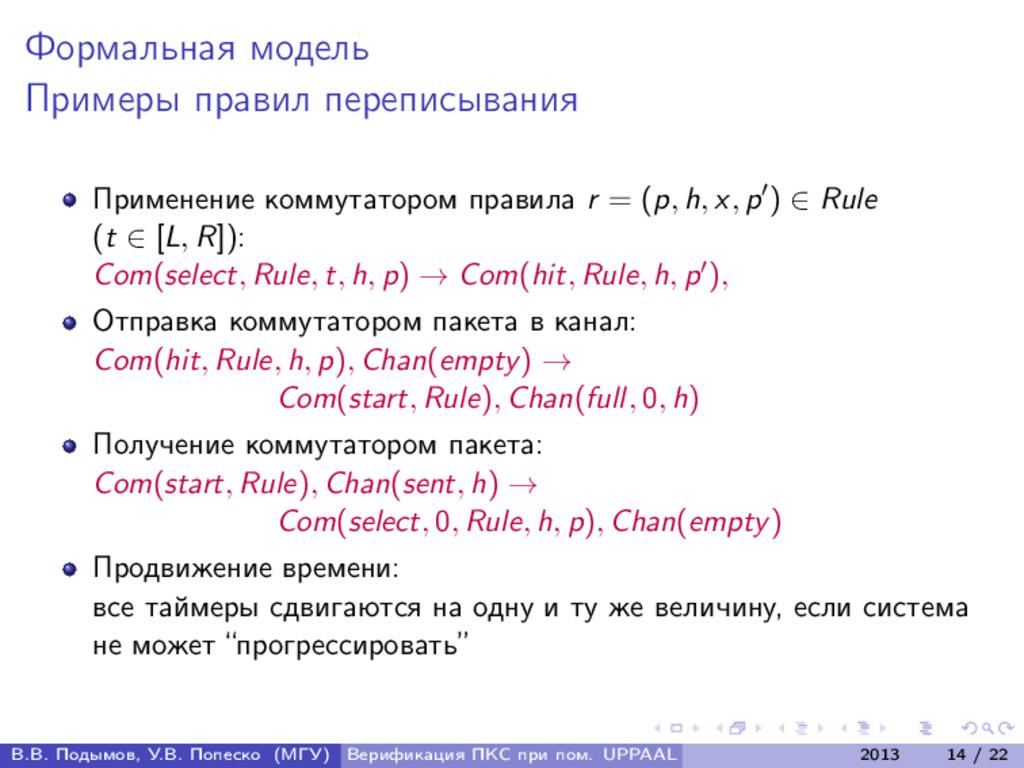 Формальная модель Примеры правил переписывания ...