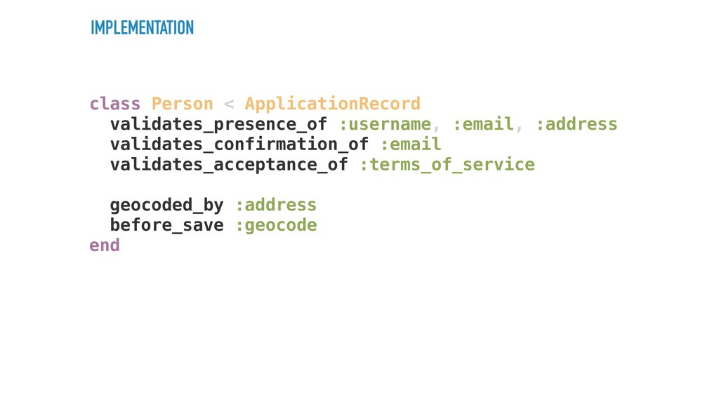 IMPLEMENTATION class Person < ApplicationRecord...