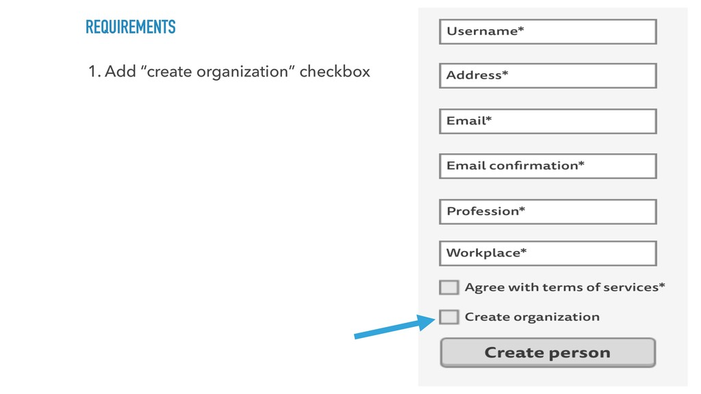 "REQUIREMENTS 1. Add ""create organization"" check..."