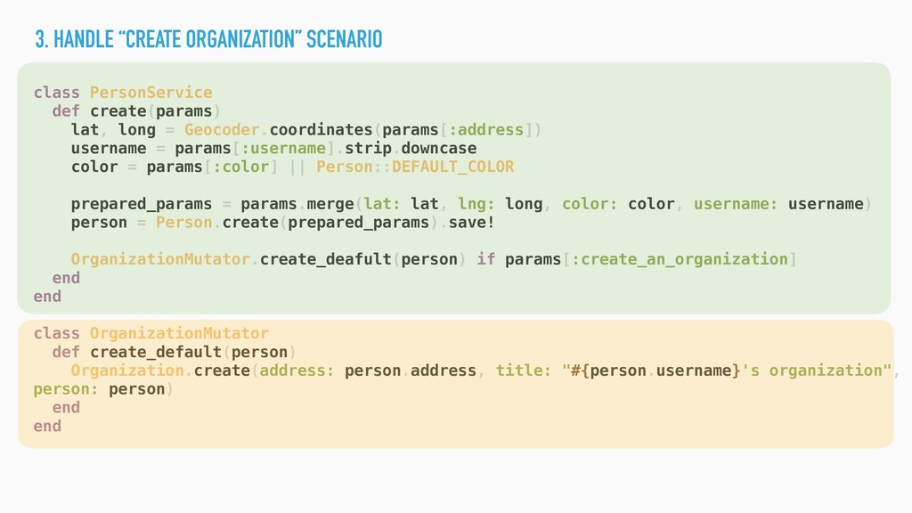 "3. HANDLE ""CREATE ORGANIZATION"" SCENARIO class ..."