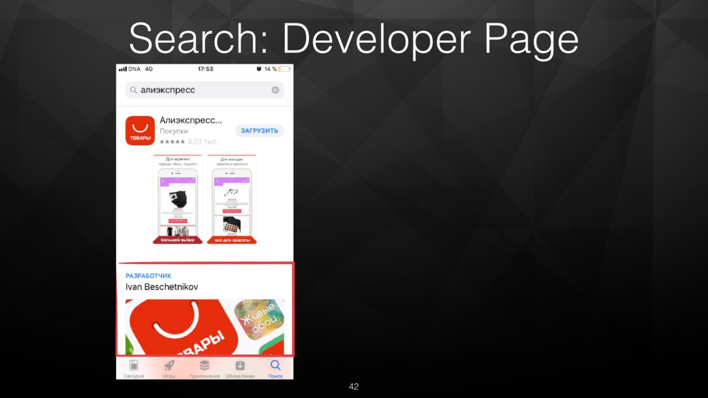 42 Search: Developer Page