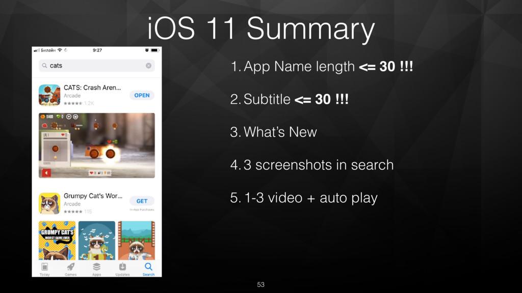 iOS 11 Summary 1.App Name length <= 30 !!! 2.Su...