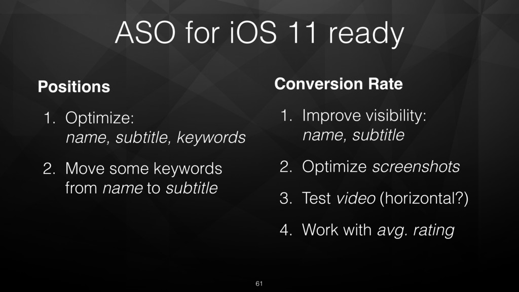 ASO for iOS 11 ready Conversion Rate 1. Improve...