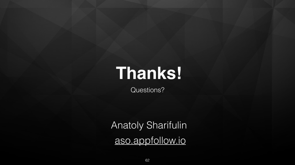 Thanks! Questions? Anatoly Sharifulin aso.appfo...