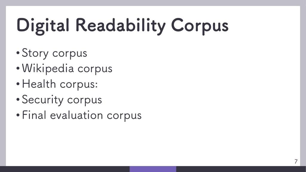 Digital Readability Corpus • Story corpus • Wik...