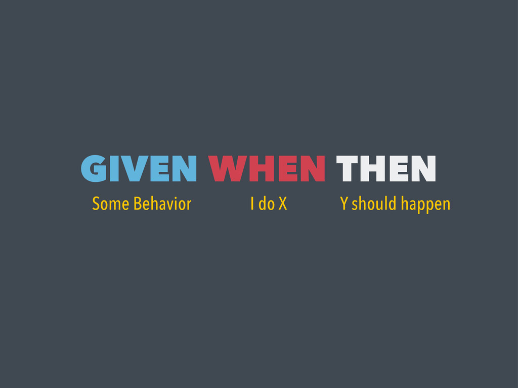 GIVEN WHEN THEN Some Behavior I do X Y should h...