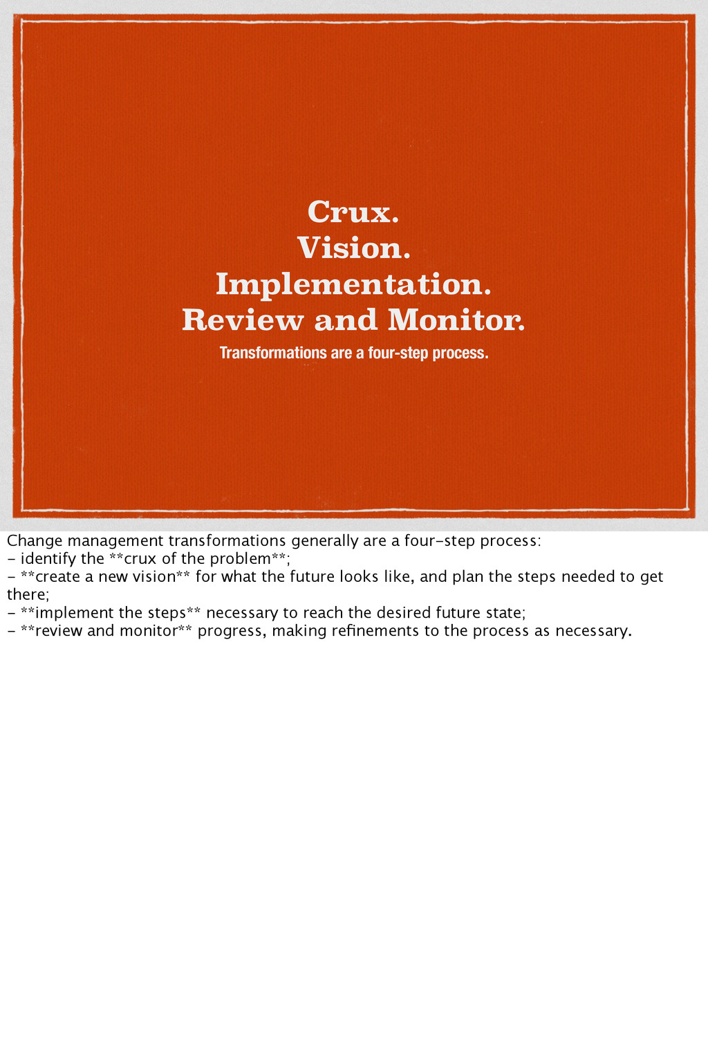 Crux. Vision. Implementation. Review and Monito...