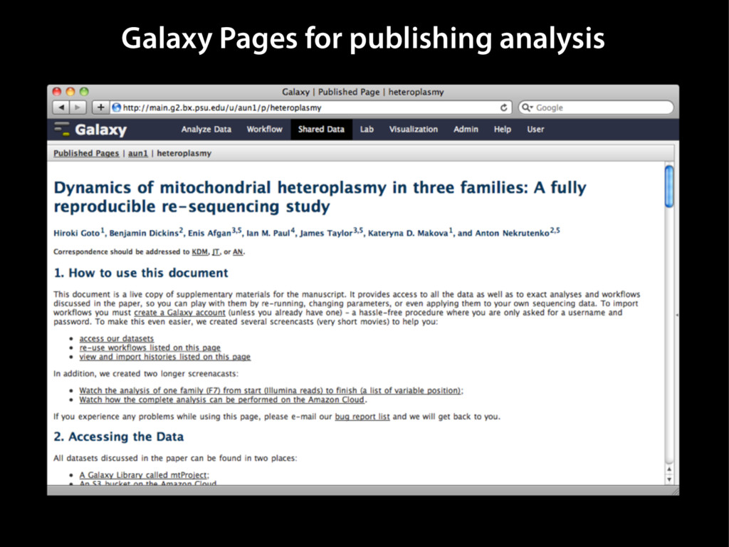 Galaxy Pages for publishing analysis