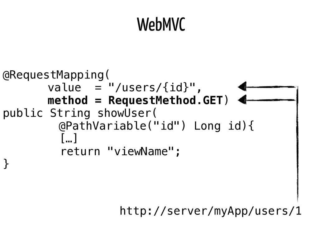 "WebMVC @RequestMapping( value = ""/users/{id}"", ..."
