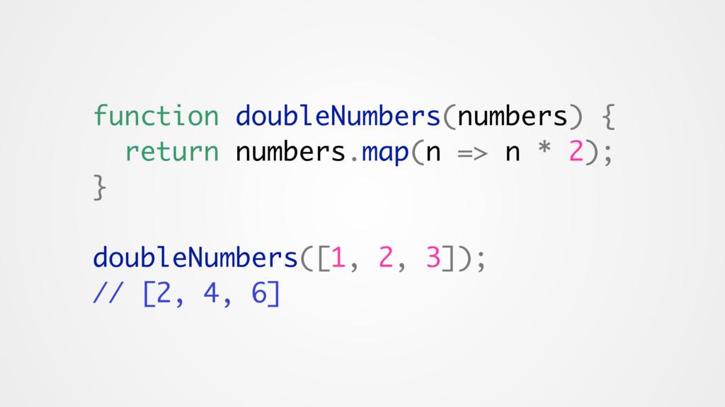 function doubleNumbers(numbers) { return number...